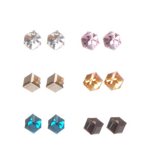 Colored Cube Stud Earrings,