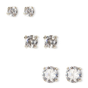 6MM, 7MM and 8MM Round Cubic Zirconia Martini Set Stud Earrings,