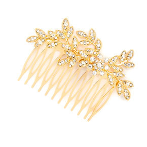 Crystal Leaves and Flower Hair Comb,