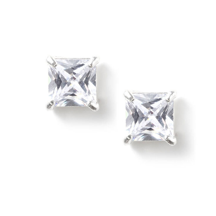 5MM Square Cut Cubic Zirconia Infinity Set Stud Earrings at Icing in Victor, NY | Tuggl
