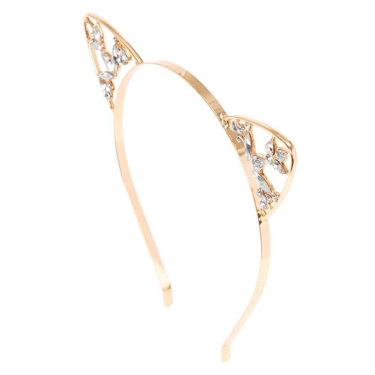 Rose Gold Crystal Cat Ears Headband,