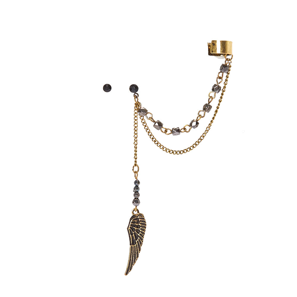 Burnished Goldtone Wing Chain Ear Cuff and Black Stud Earring Set