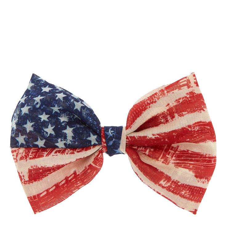 American Flag Chiffon Bow Hair Clip,