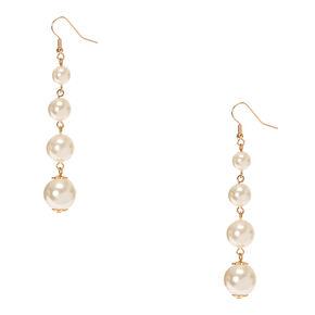 Graduated Faux White Pearl Drop Earrings,