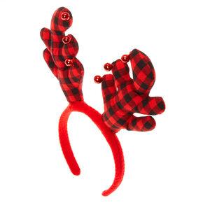 Buffalo Check Reindeer Antlers Headband,