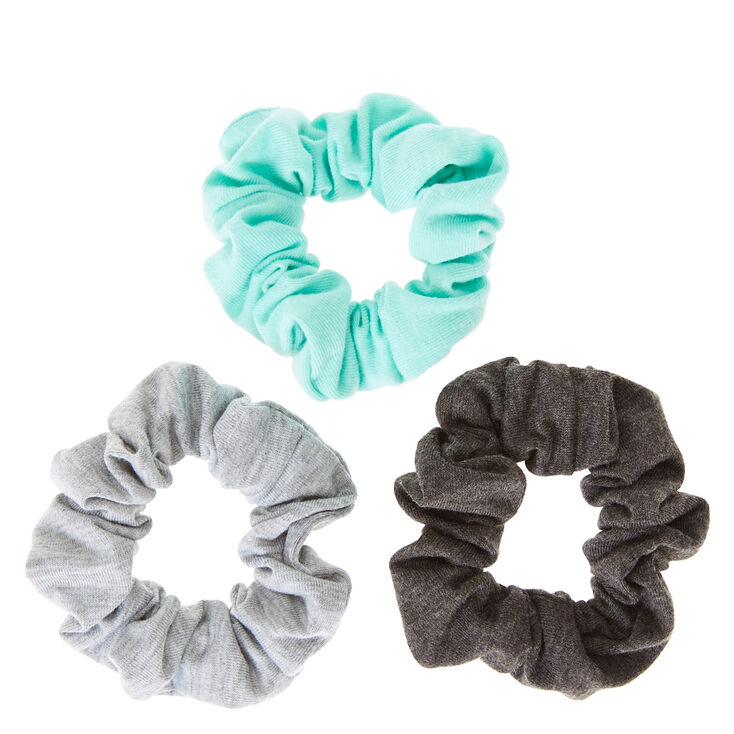 Gray and Mint Hair Scrunchies,