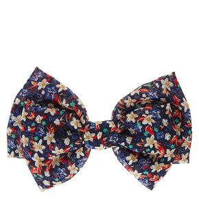 Navy Floral Print Double Layered  Chiffon Bow Hair Clip,