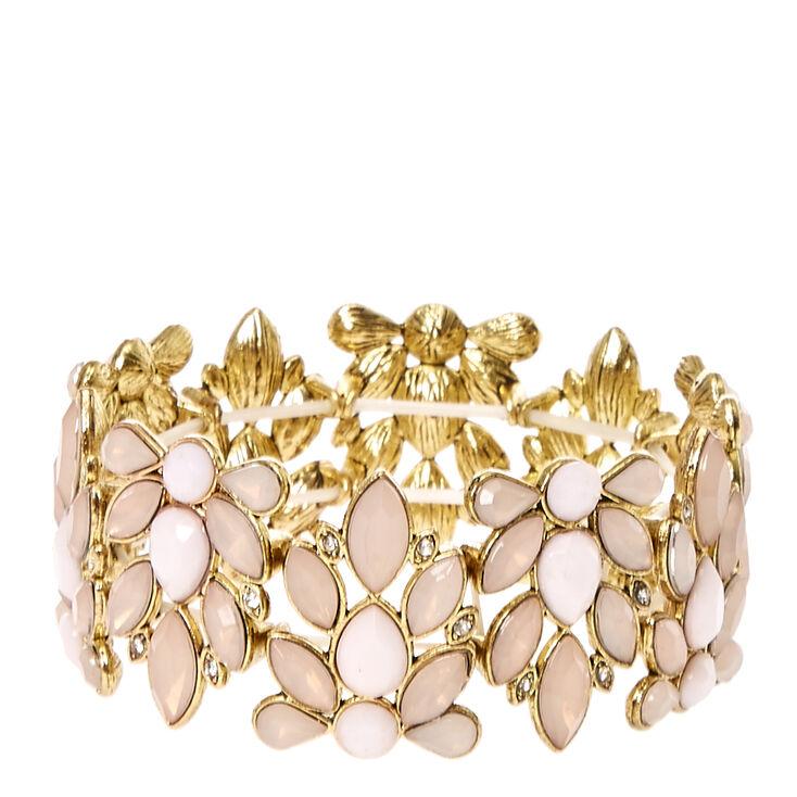 Pink Floral Stretch Bracelet,