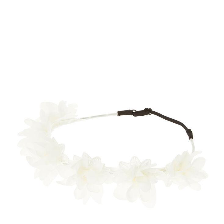 White Chiffon Flower Crown,