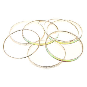 7 Pack Holographic Silver-Tone Bangle Bracelets,