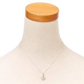 Pavé Anchor Silver Charm Necklace,
