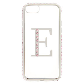 "Pink Stone ""E"" Initial Phone Case,"