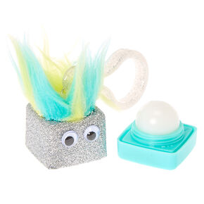 Silver and Mint  Vanilla Flavored Lip Balm Cube Push Clip,