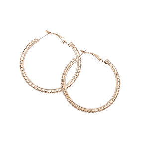Crysal Lined Rose-gold Tone Hoop Earrings,