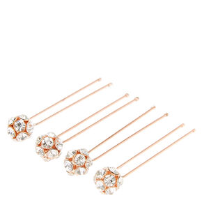 Rose Gold Tone Fireball Hair Pins,