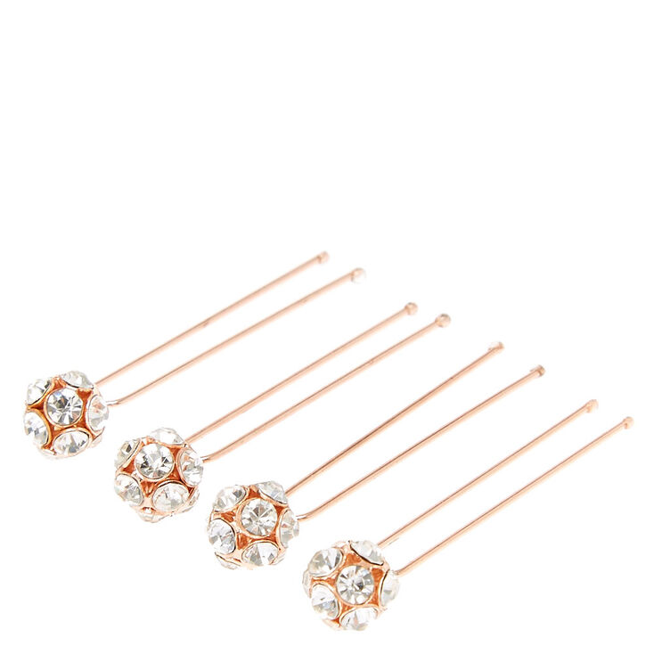 Rose Gold Tone Fireball Hair Pins,