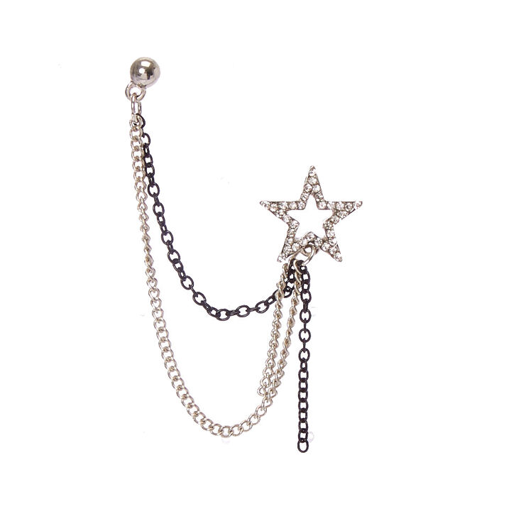 Silver-tone and Black Star Chain Earrings,