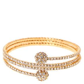 Gold-tone Faux Crystal Fireball Coil Bracelet,