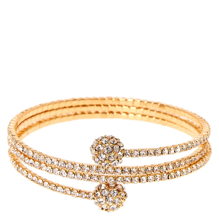 Gold-tone Faux Crystal Fireball Coil Bracelet,