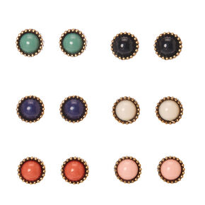 Burnished Gold-tone Framed Round Colored Bead Stud Earrings,