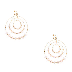 Thin Gold-tone Beaded Triple Hoop Clip-on Earrings,
