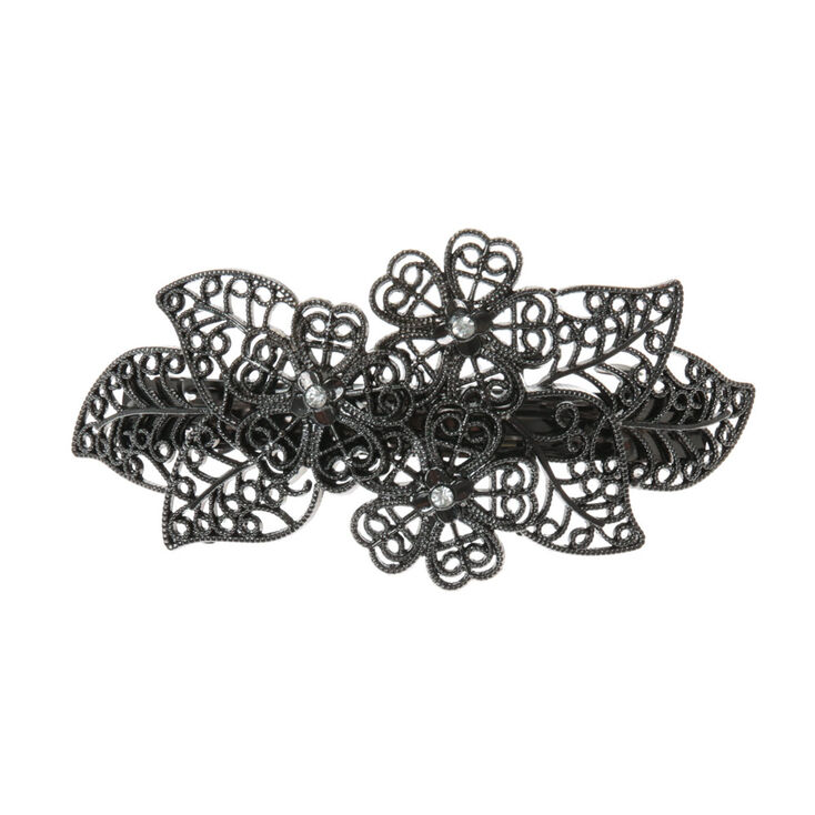 Hematite Filigree Flower Hair Clip at Icing in Victor, NY | Tuggl
