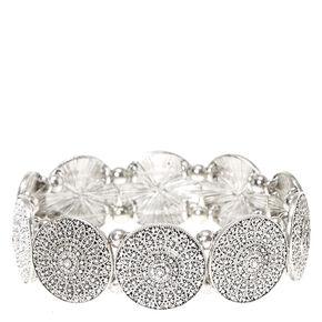 Silver Circle Plate Pendant Stretch Bracelet,