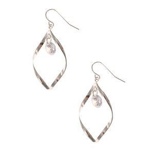 Twisted Spiral Crystal Drop Earrings,