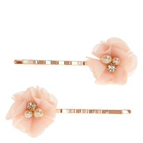 Blush Chiffon Flowers Rose Gold Bobby Pins,