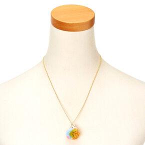 Unicorn Pom Pendant Necklace,