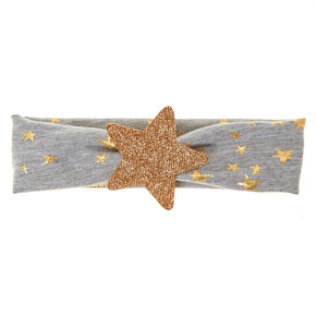 Wide Gray Stretchy Headband with Gold Stars,