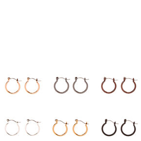 Mixed Metal Mini  Rounded Hoop Earrings,