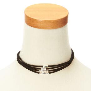 Multi Layered Black Velvet Beaded Choker Necklace,