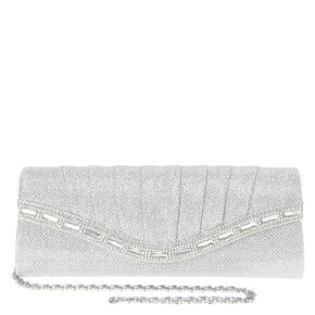 Silver Pleated Mesh Jeweled Clutch,