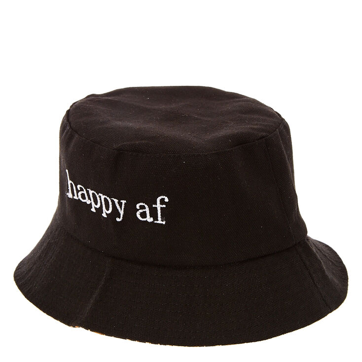 Happy AF Black Bucket Hat with Leopard Print Lining,