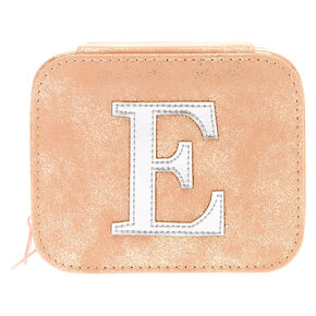 "Blush Pink ""E"" Initial Jewelry Case,"