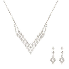 Crystal V Necklace and Earring Set,