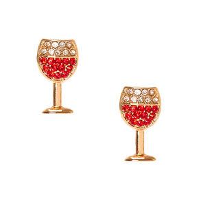 Gold-tone Red Wine Glass Stud Earrings,