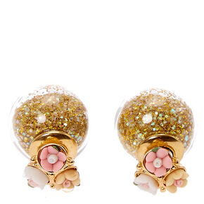 Carved Flower  Shimmer Front and Back Gold Stud Earrings,