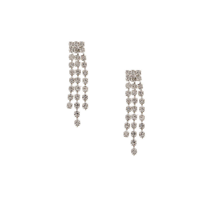 Mini Rhinestone Fringe Drop Earrings,