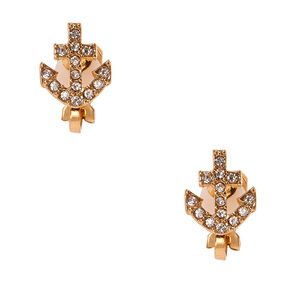 Gold-tone Faux Crystal Anchor Clip-on Stud Earrings,