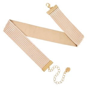 Reversible Pink & Gold Glitter Choker Necklace,