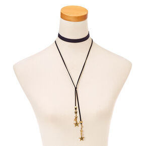 Patriotic  Navy  Cord  and  Burnished Gold-tone Stars Choker Necklaces,