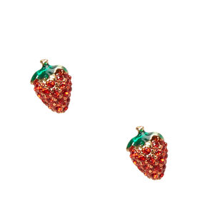 Crystal Strawberry Stud Earrings,