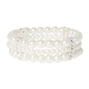 Ivory Pearl Triple Row Stretch Bracelet with Silver and Crystal Bands,