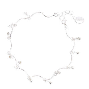 Silver with Banana Shape Beading Anklet,