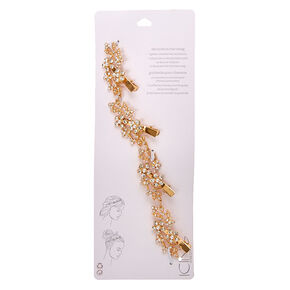 Gold-tone Faux Crystal and Pearl Flower Decorative Hair Swag,