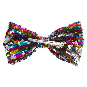 Rainbow Sequin Bow Hair Clip,