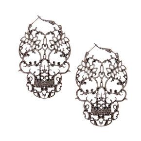 Hematite Skeleton Hoop Earrings,