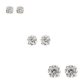 Sterling Silver 3 Pack Cubic Zirconia Stud Earrings,